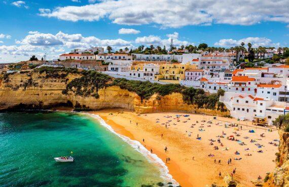 View of Carvoeiro fishing village with beautiful beach, Algarve,