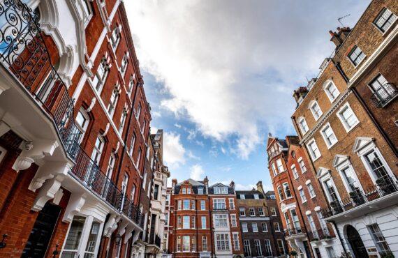 Beautiful Georgian buildings in Marylebone area of London's West