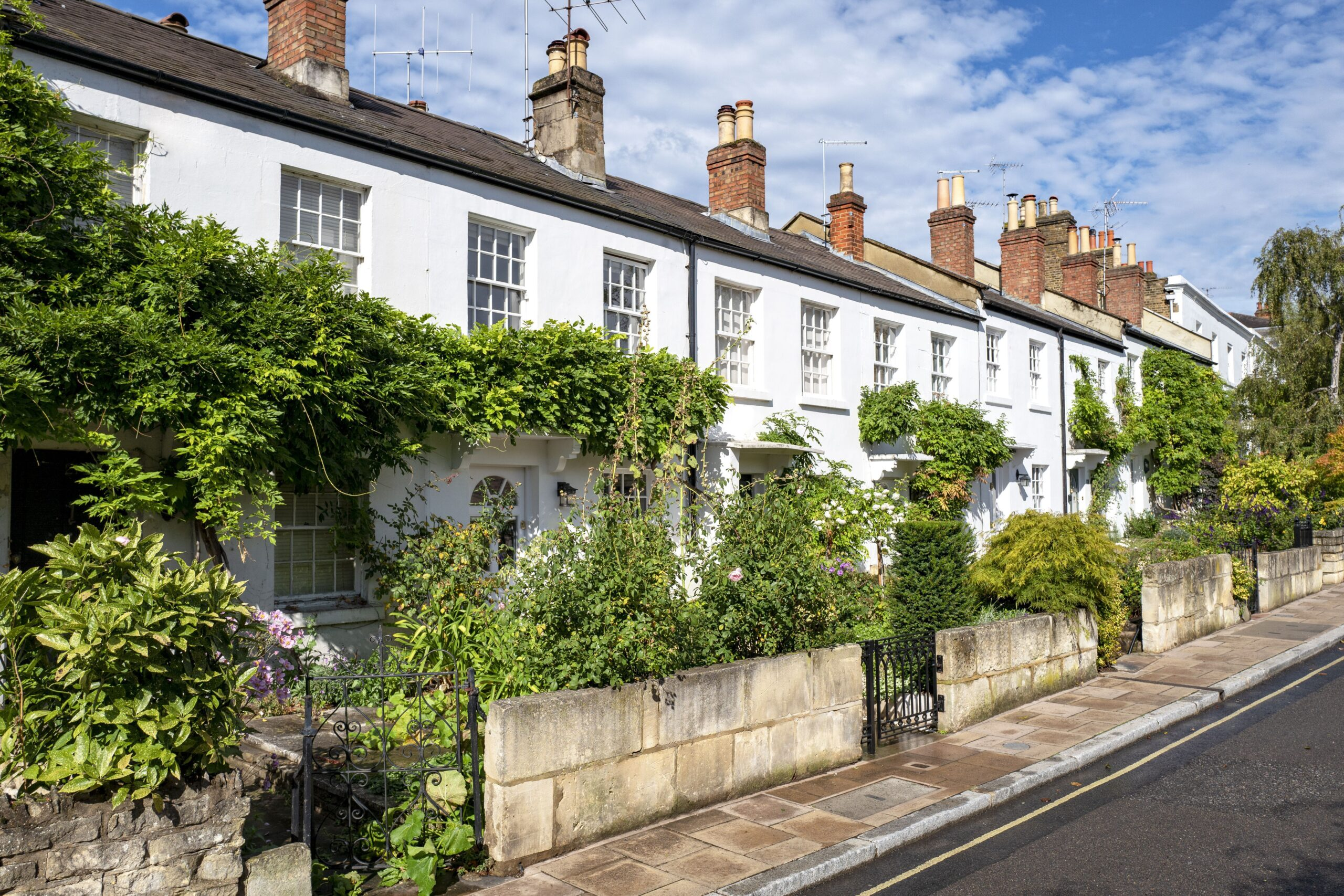 Typical English row of terraced cottages